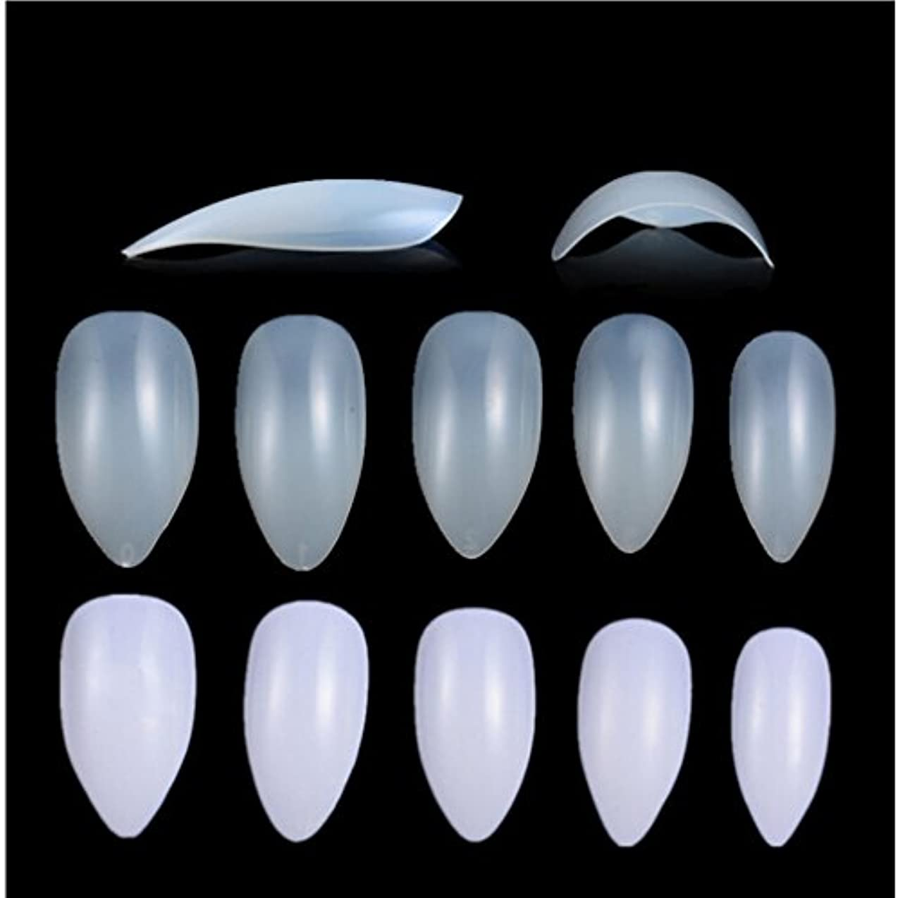 レザー空気報復Honel つけ爪 無地 ショート ネイルチップ クリア ネイルチップ 短い 600枚入れ 10サイズ 爪にピッタリ 付け爪 練習用 透明 シャープ ポイント (ハロウィン コスプレも対応できます)