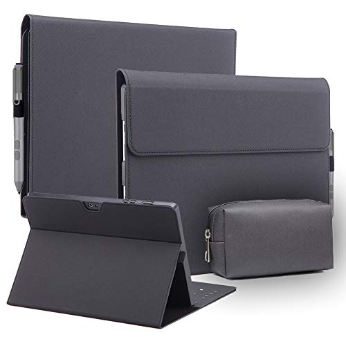 AICOO Microsoft Surface Pro 6/Pro 5/Pro 4 Case with Adapter Bag, Multiple-Angle Stand Case Slim PU Leather Cover with Adapter Pouch Compatible with Microsoft Surface Pro 6/Pro 5/Pro 4 Tablet, Black