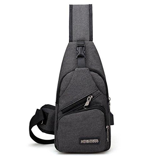 Cidee ショルダーバッグ 斜めがけバッグ 胸バッグ 肩掛け アウトド スポーツ メンズ レディース iPad mini 収納可能 軽量 防水 人気 日常 通勤通学 USBポート 付き ブラック