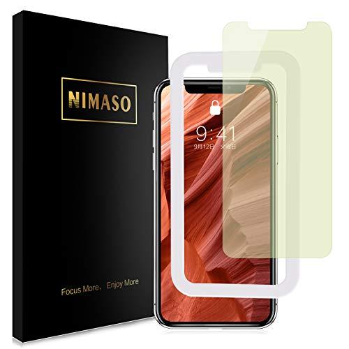 【ブルーライトカット】【ガイド枠付き】 Nimaso iPhone XR 用 強化ガラス液晶保護フィルム 目の疲れ軽減 ( 6.1 インチ iPhoneXR 用 保護フィルム )