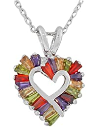 925 Sterling Silver Love Heart Charm Multicolor CZ Pendant Necklace