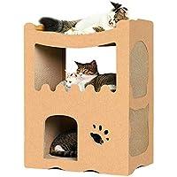 RAKU 猫つめとぎハウス 段ボールベッド キャットタワー 多頭飼う 大型猫 二層 組み立て式 最高荷重40kg 高密度段ボール キャットダンボールハウス 収納簡単 通気 エコな素材 猫箱 ストレス解消 猫 ベッド 爪とぎ (二つ部屋)