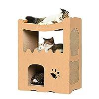 RAKU 猫 つめとぎ キャットハウス キャットタワー ダンボールハウス つめとぎ ねこ ベッド 猫箱 二層 組み立て式 高密度段ボール 収納簡単 ストレス解消 通気 (二つ部屋)