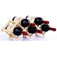 W22 選べるサイズ 折りたたみ式 ワインラック 木製 ホルダー ワイン シャンパン ボトル 収納 ケース スタンド インテリア (5本収納)