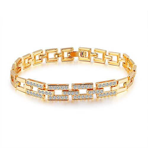 Richapex ブレスレット AAAクリスタル 18金 ゴールド フィルド ジュエリー バングル Czダイヤモンド 18K Yellow Gold Filled レディースファッション エレガント (長方形)
