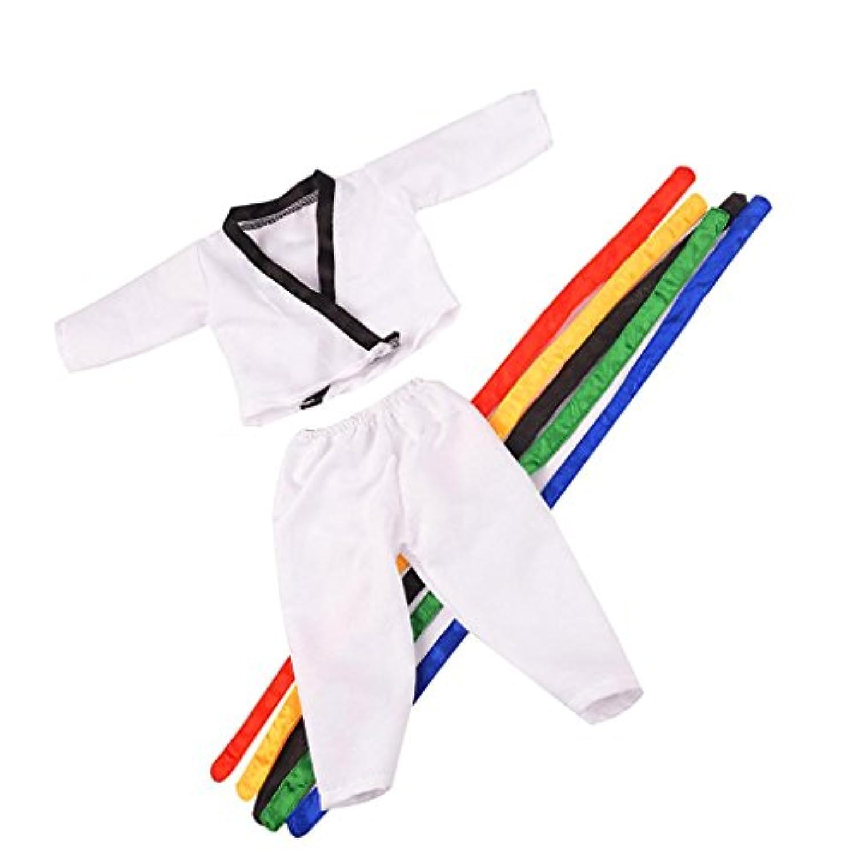 Dovewill 18インチ アメリカンガールドール対応  素敵  布製 テコンドー   制服  5ベルト付き 1セット  ホワイト