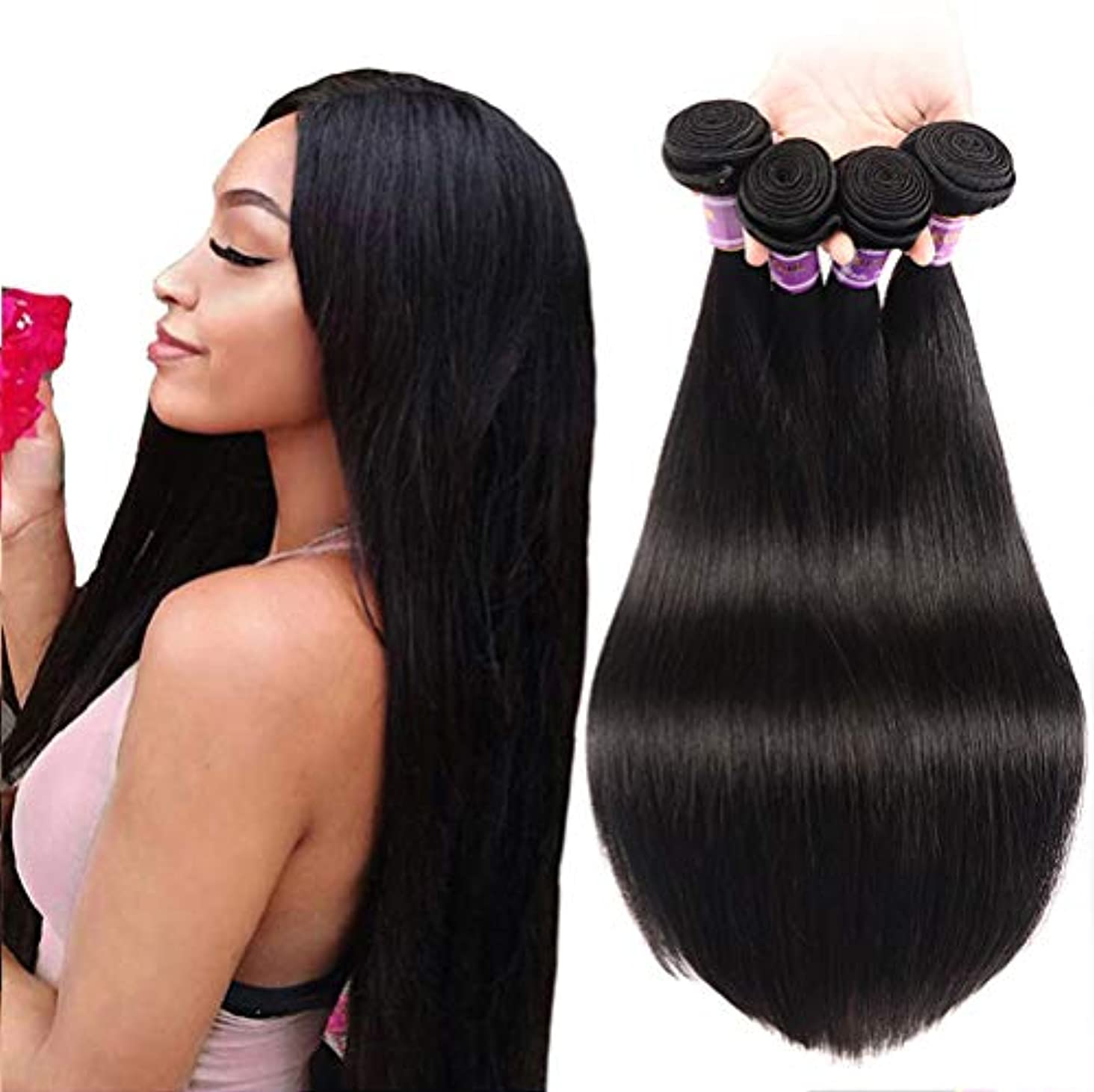 反映する直立優遇150%密度8aブラジルバージン人間の髪の毛1バンドルストレートウェーブ横糸100%本物の人間の髪の毛を編む女性の髪