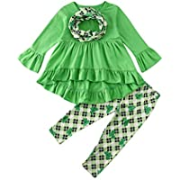 Bagilaanoe 3Pcs Kids Toddler Baby Girls Turkey T-Shirt Tops Dress+Pants Leggings+Scarf Thanksgiving Outfit Clothes Set 1-6T