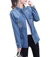 Candiyer 女性プラスサイズジップロングスリーブビッグポケットプレミアムボンバージャケット Blue M