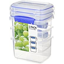 Sistema Klip It Klip It Pack 400ml x 3 Rectangular Food Storage Container, Clear