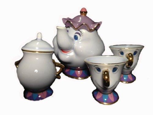 ディズニーリゾート限定発売 『美女と野獣』ポット夫人とチップのティーポットセット☆ポット夫人のポット&チップのティーカップ&シュガーポット