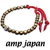 amp japan/アンプジャパン 6BTM-203RD ゴールド ナゲットビーズ レザーブレスレット(シルバースカル)