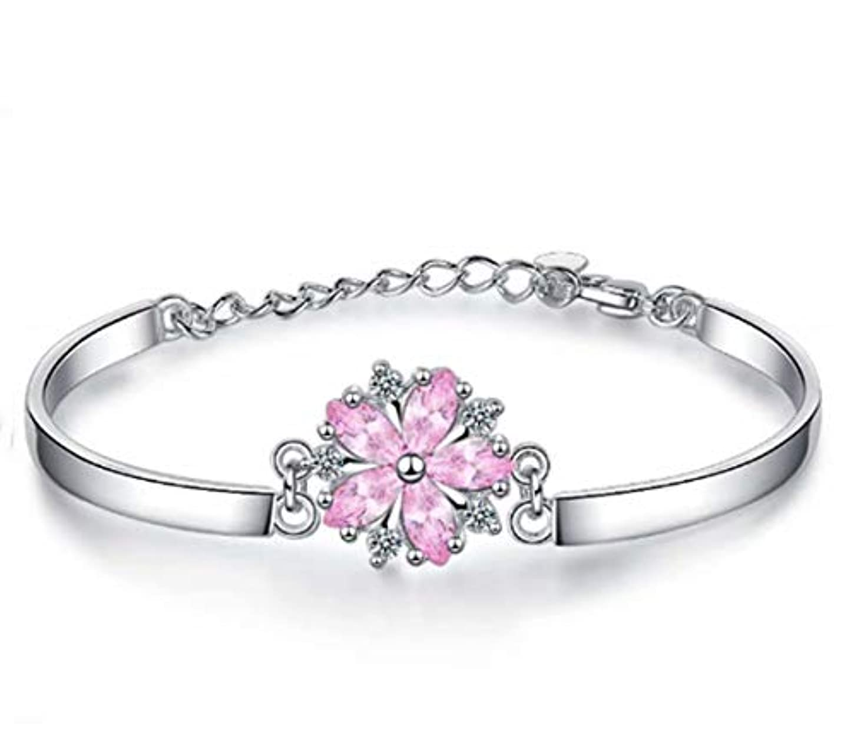 燃料ストレスの多い湖七里の香 サクラブレスレットレディース フラワー 桜の花 ピンク腕輪 バングル 花びら ギフト 長さ調整可