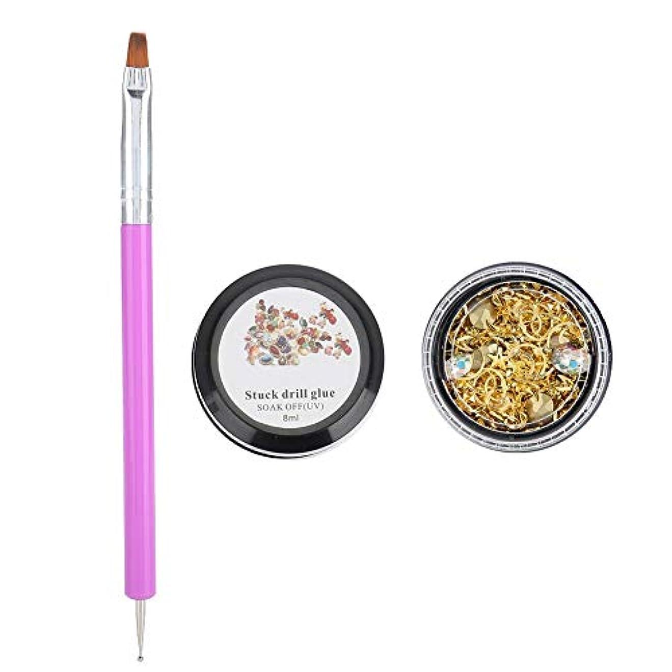 執着レザー損傷美しい ネイルアート 装飾リベットラインストーンスタッド ネイルアートペン 3種類 多目的 接着剤 マニキュアツール(01)