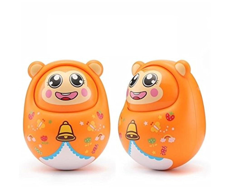 KEANER 新生児 乳児 ロールポリ おもちゃ 落下抵抗 ラトル 人形 オーナメント サウンドタンブラー 教育玩具 (オレンジ)