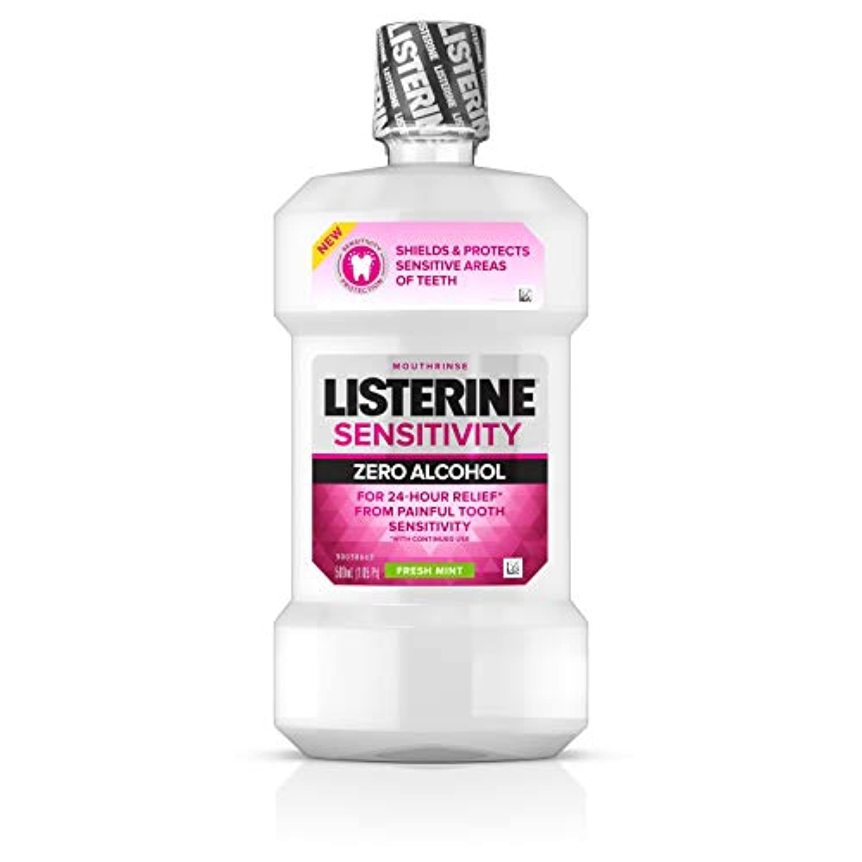 Listerine 24時間の歯感度救済&保護アルコールフリー式感度マウスウォッシュ、フレッシュミントフレーバー16.90オズ
