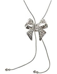 Cikuso ユニークなかわいいラインストーンの蝶結びチェーン ネックレス セーターチェーン ファッション的なジュエリー - シルバー