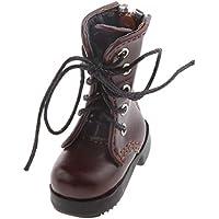 【ノーブランド品】PUレザー 1/6 BJD人形 ブーツ かわいい レースアップ靴 アクセサリー 贈り物 全2色 - コーヒー