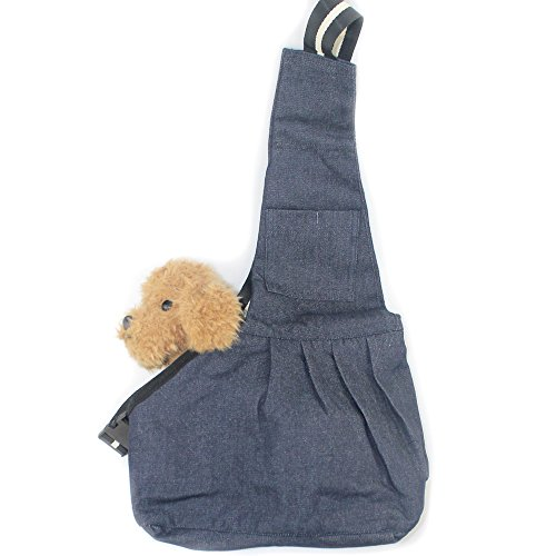 Bloomy.shop ペット バッグ バックスリング 猫 犬用 カバン 斜めがけバッグ 通気性 洗濯簡単 (M, ブルー)