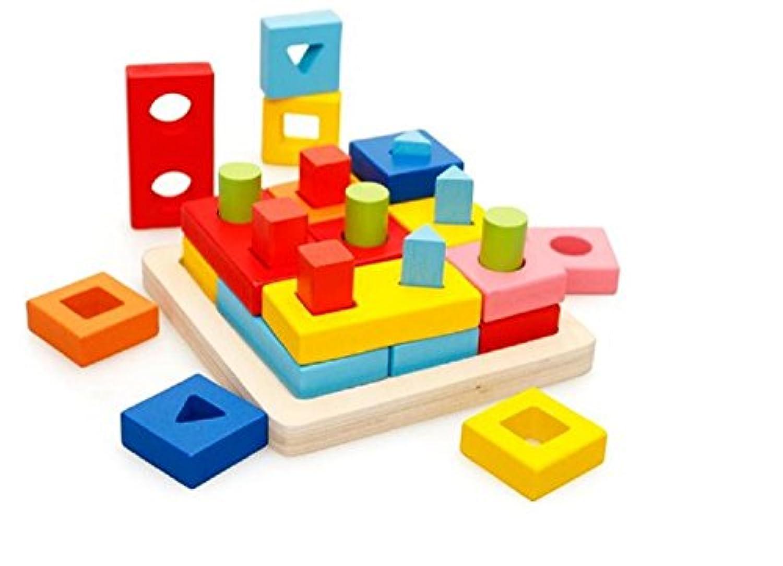 [kuro&jouet] カラフル 知育 玩具 おもちゃ 木製 はめこみ 形合わせ 幼児 男の子 女の子