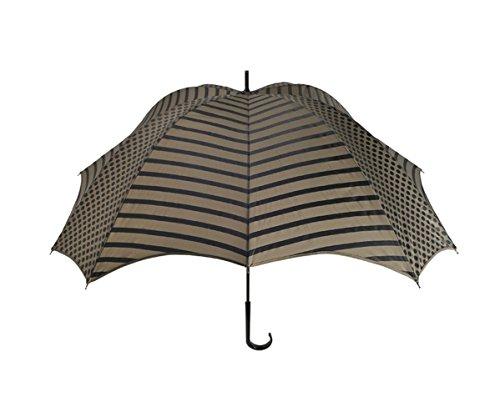 【正規輸入品】 ディチェザレ デザイン クロス ウォーカー ライン&ドッツ 全2色 長傘 手開き 日傘/晴雨兼用 ブラック&ブラウン 12本骨 52-64cm グラスファイバー骨 テフロン加工