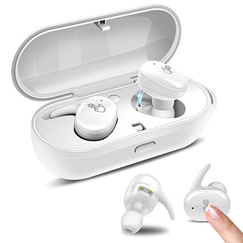 PZX Bluetooth イヤホン【タッチ型】左右分離型 片耳でも両耳でも使用可能 高音質 超軽量 Bluetooth4.1 ワイヤレス ブルートゥース 充電収納ボックス iPhone Android対応 (白)