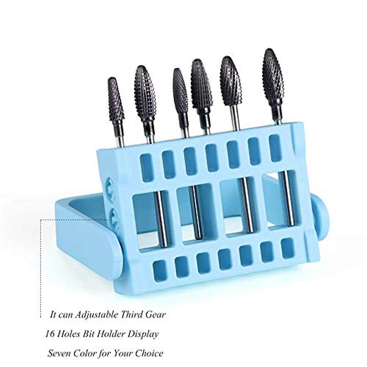 適性ジョグ報いる1本16穴ネイルドリルビットホルダー展示スタンドディスプレイボックス電気ネイルファイルコンテナマニキュアツール
