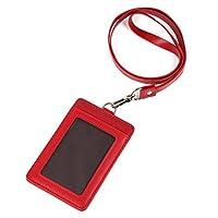 モノボックスジャパン 牛革 IDカードホルダー ネックストラップ ポケット2か所 強化フィルム 軽量モデル パスケース 1name-mono3 (レッド【縦】)