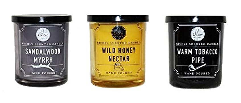 効能熟達した以内にDW Home 香り付きキャンドルセット ウォーム煙草パイプ ワイルドハニーネクター サンダルウッドミルラー 各1本芯 4オンス