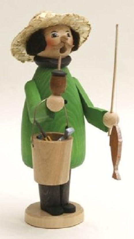 葉を集めるコモランマ友情Fisherman GermanクリスマスIncense Smoker釣りMade inドイツエルツ山地新しい