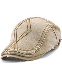 CATYAA 男性と女性のキャップツイルダブル刺繍スレッドダイヤモンドベレッツ帽子 (Color : Dark beige, サイズ : 56-60cm)