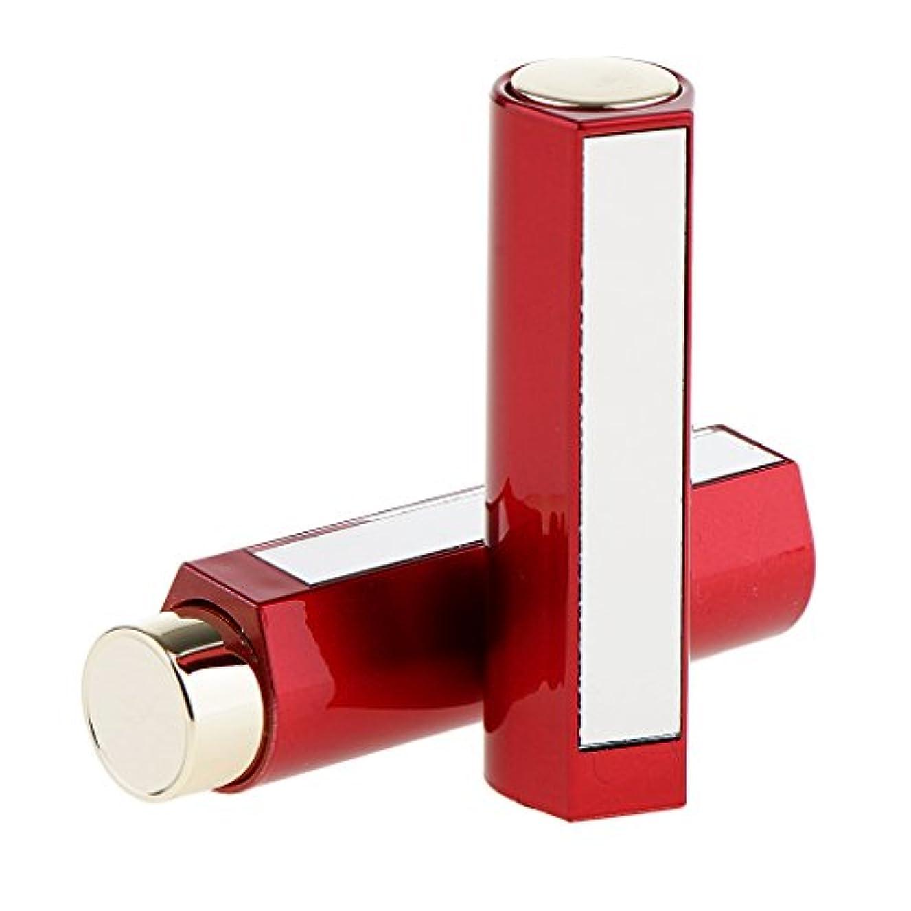 半導体書き込みキャプテン2本 空チューブ リップスティックチューブ 12.1MM口紅チューブ用 口紅チューブ リップクリーム DIY プラスチック製 2色選べる - 赤