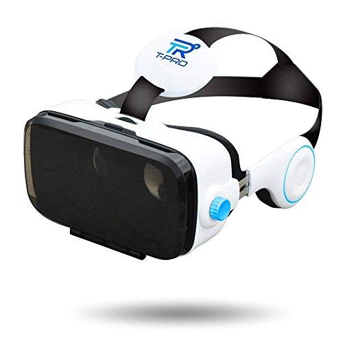 【 2018 最新版 Pure White】 T-PRO 3D VRゴーグル スマホ 最新型 iphone x/android Xperia 各種対応 3Dメガネ イヤホン一体型 4.0~6.0インチ 【近視/メガネ対応】