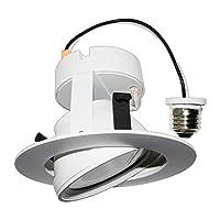 """コストLess照明4"""" LEDジンバル埋め込みダウンライト器具10W ( 65W交換、e26ベース、120V、調光機能付き、柔軟なライトビーム方向、UL &エネルギースター 11-4RKT-GR-ECO"""