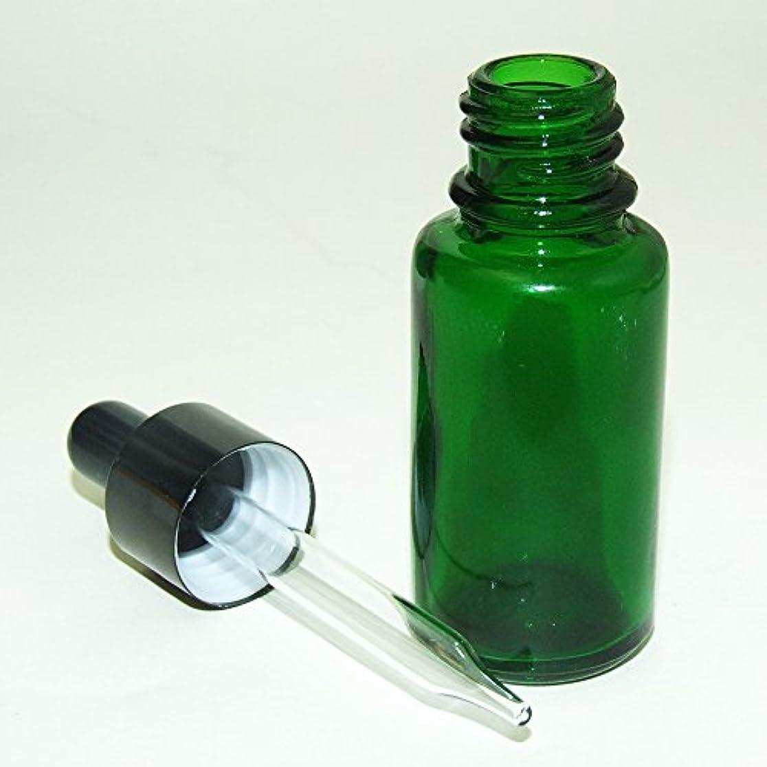 責める彼女構築するガレージ?ゼロ 遮光ガラス スポイド瓶 先細タイプ 緑 15ml(GZKP32)×10個 アロマ保存 GSE678