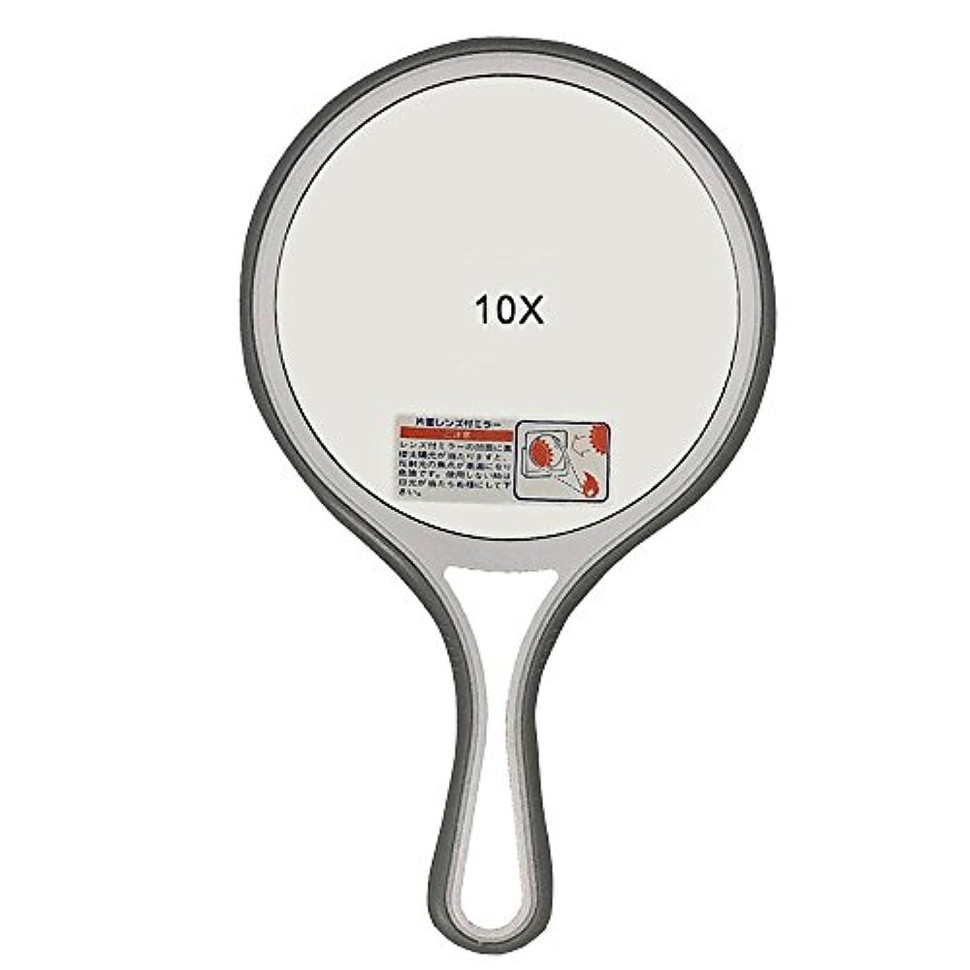 はっきりしない接続ぼろメリー 片面約10倍拡大鏡付 手鏡 ソフトグリップ AF-8