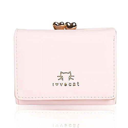 レディース 三つ折り ミニ財布 人気 ウォレット カード小銭入れ かわいい 小動物 がま口 おしゃれ 女性用 プレゼント 5カラー 専用化粧箱付き ピンク