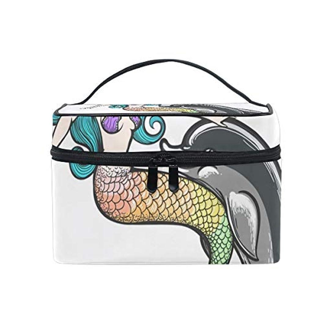 話をするなかなかバットメイクボックス イルカ 人魚柄 化粧ポーチ 化粧品 化粧道具 小物入れ メイクブラシバッグ 大容量 旅行用 収納ケース