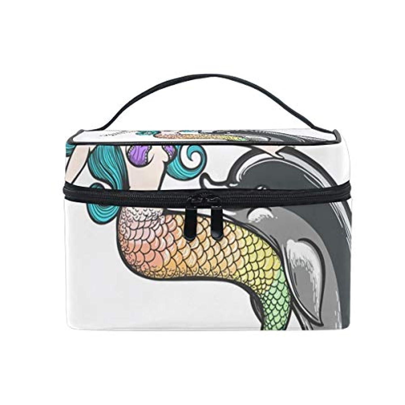 女の子王子パントリーメイクボックス イルカ 人魚柄 化粧ポーチ 化粧品 化粧道具 小物入れ メイクブラシバッグ 大容量 旅行用 収納ケース