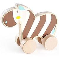 london-kate Zebra木製Push Along Rolling Toy – Rolls Easy for Boys and Girls
