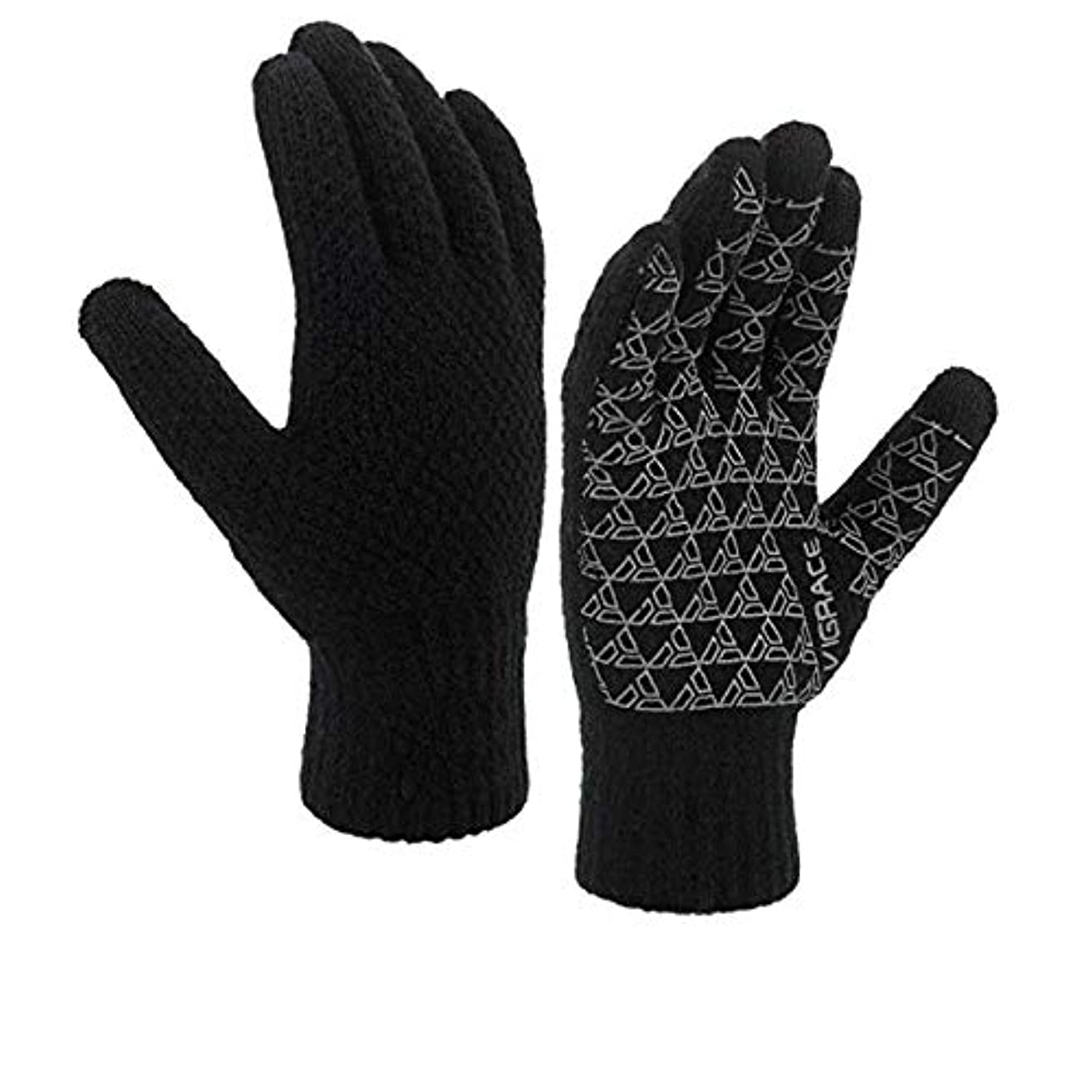 裕福なバドミントン会計冬は、男性と女性のタッチ・スクリーン・フリース裏地ニット滑り止めウール手袋のためのタッチスクリーン手袋を温めます,L