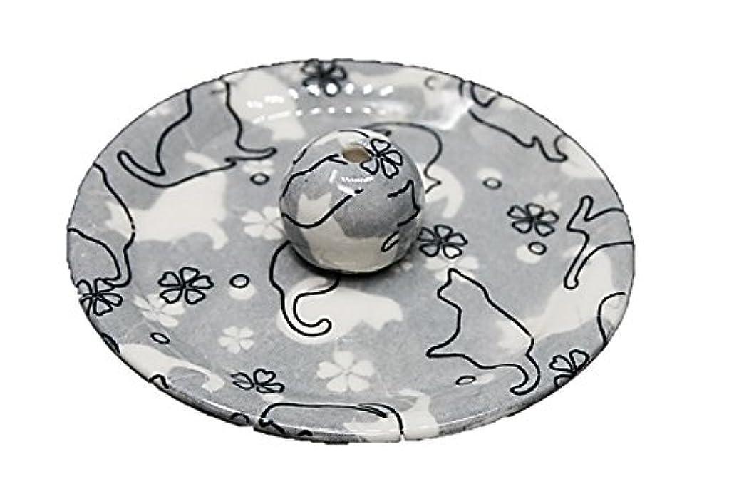 ネクタイトラフィック共産主義者9-48 ねこランド(グレー) 9cm香皿 日本製 お香立て 陶器 猫柄