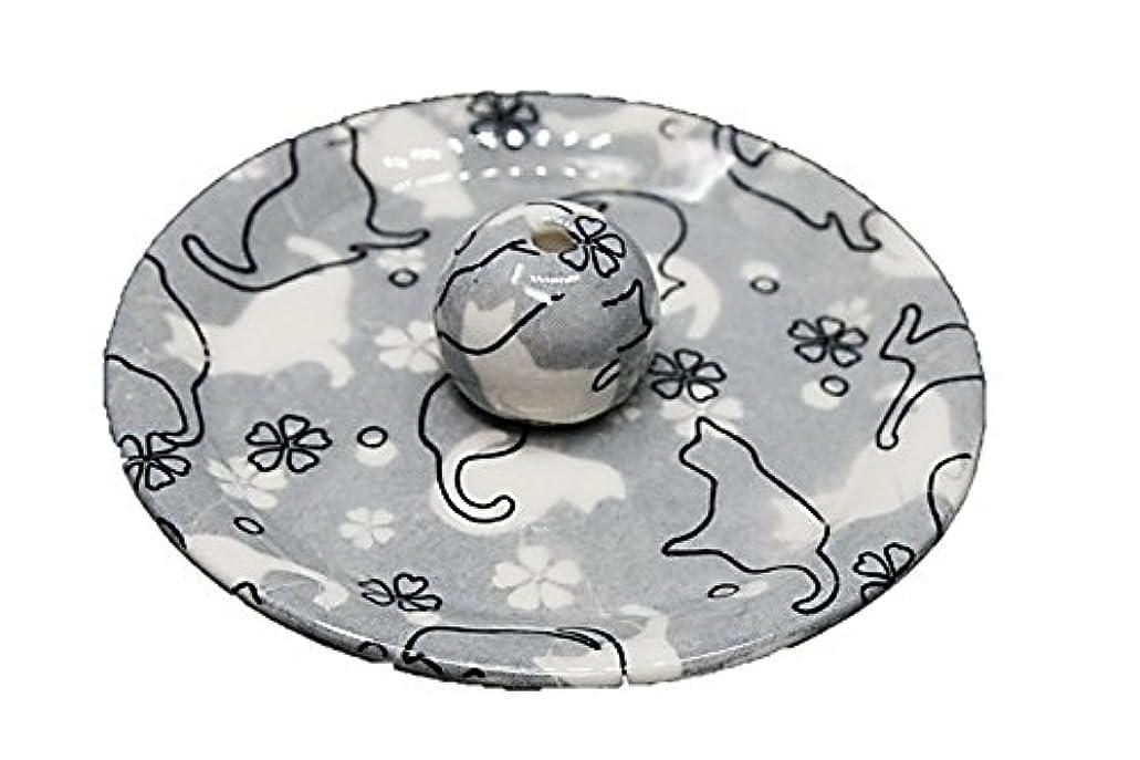 昆虫を見るはさみ測る9-48 ねこランド(グレー) 9cm香皿 日本製 お香立て 陶器 猫柄