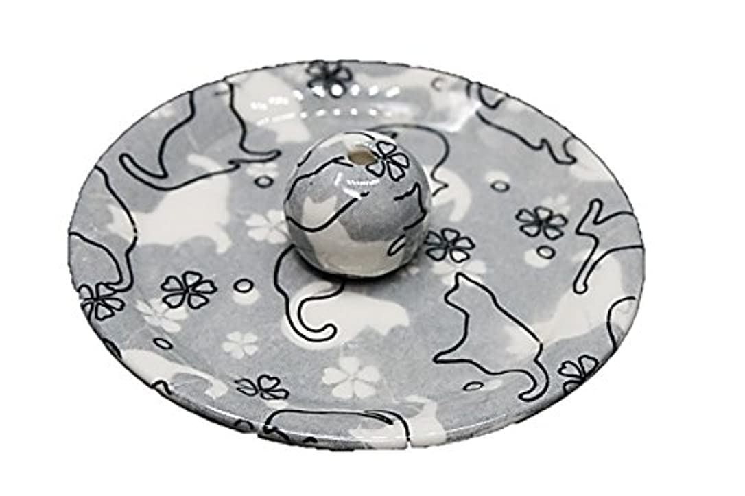 不倫一旅行者9-48 ねこランド(グレー) 9cm香皿 日本製 お香立て 陶器 猫柄