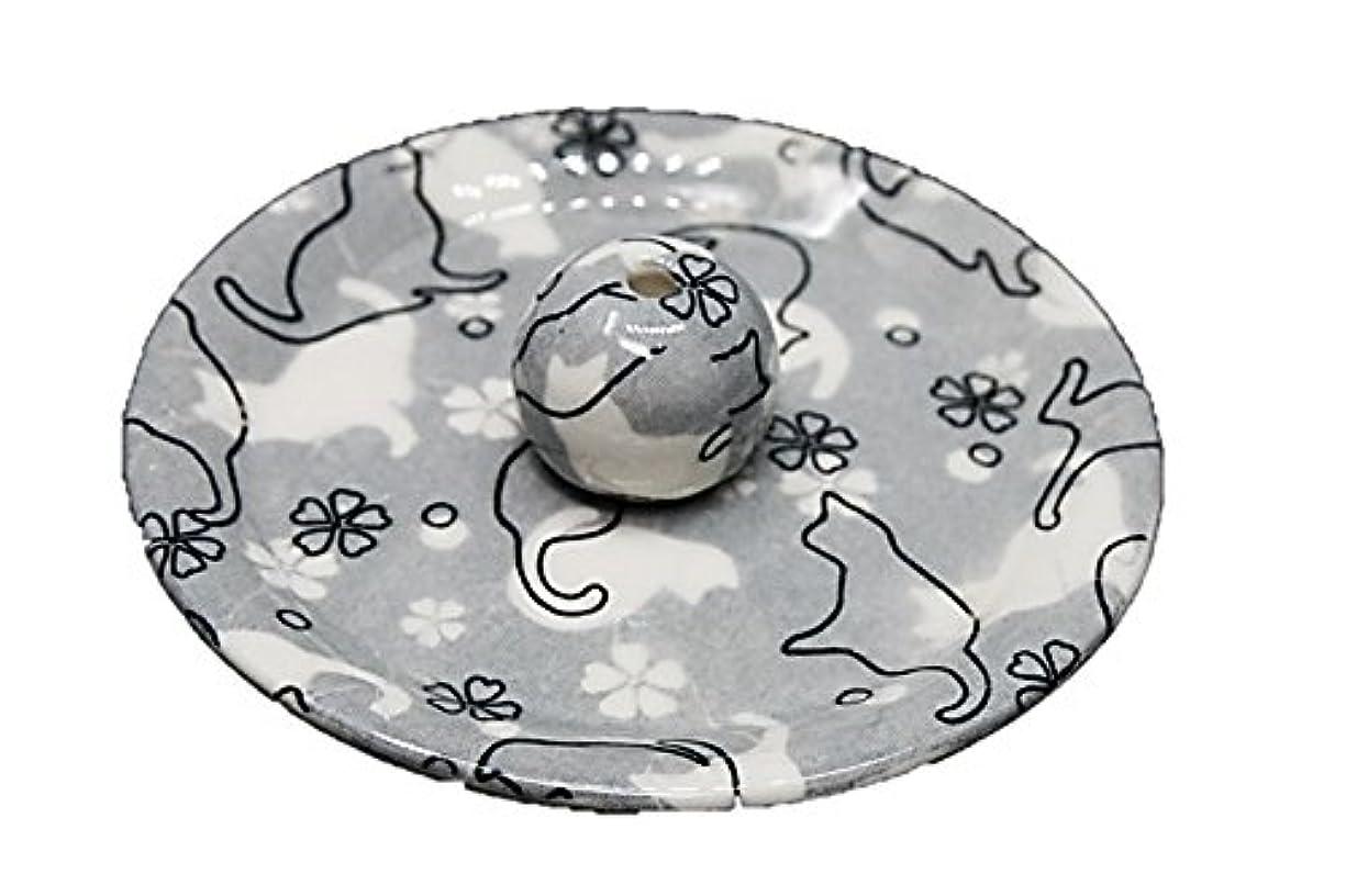 堤防微生物コイン9-48 ねこランド(グレー) 9cm香皿 日本製 お香立て 陶器 猫柄