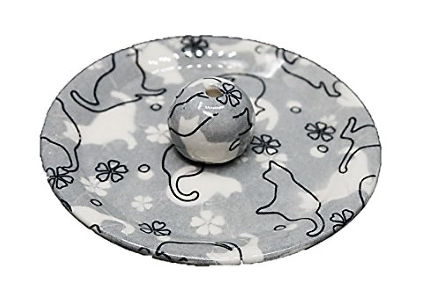 ブラウスウッズ機械9-48 ねこランド(グレー) 9cm香皿 日本製 お香立て 陶器 猫柄
