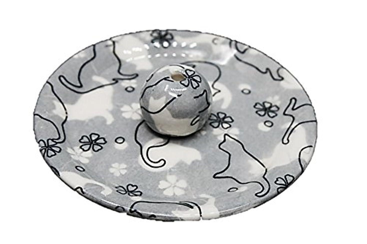 すぐにドラゴン密度9-48 ねこランド(グレー) 9cm香皿 日本製 お香立て 陶器 猫柄