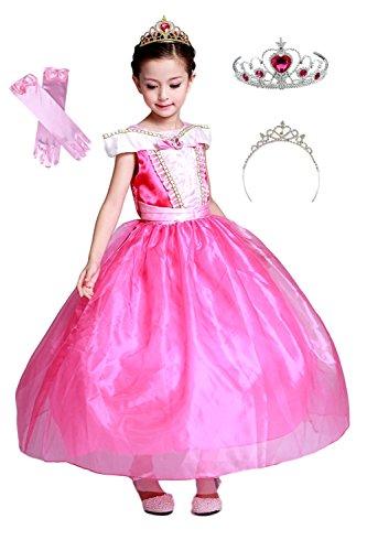 8493475fe01f4 (eones)オーロラドレス プリンセスドレス しっかり3層構造 ふんわり 子供用 ロングドレス グローブ ティアラ 4点セット(120)