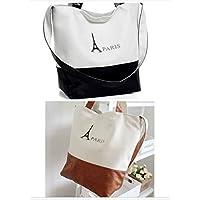 Student Tote Bag, Female Paris Color Matching Canvas Shoulder Bag Simple Light File Shopping Travel Handbag (Black) Polykor