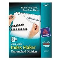 インデックスメーカークリアラベルUnpunched仕切り、5-tab、文字、ホワイト、25セット、合計150ea , Sold as 1カートン